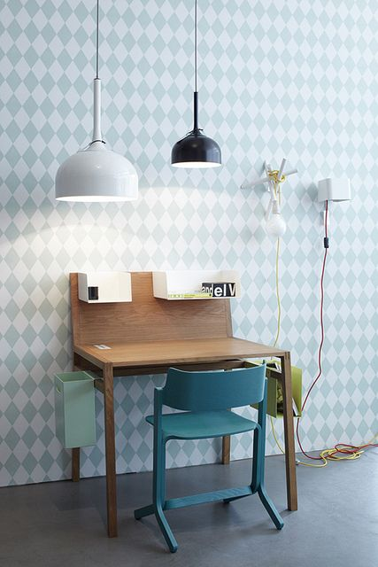 Great modern wallpaper.  Cute desk area, too, but too small.  That's like a third of the work space I need.