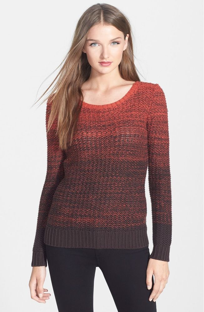 $174 NWT BAILEY 44 FIRESIDE OMBRE CHUNKY KNIT COTTON CASHMERE SWEATER NORDSTROM #BAILEY44 #ScoopNeck