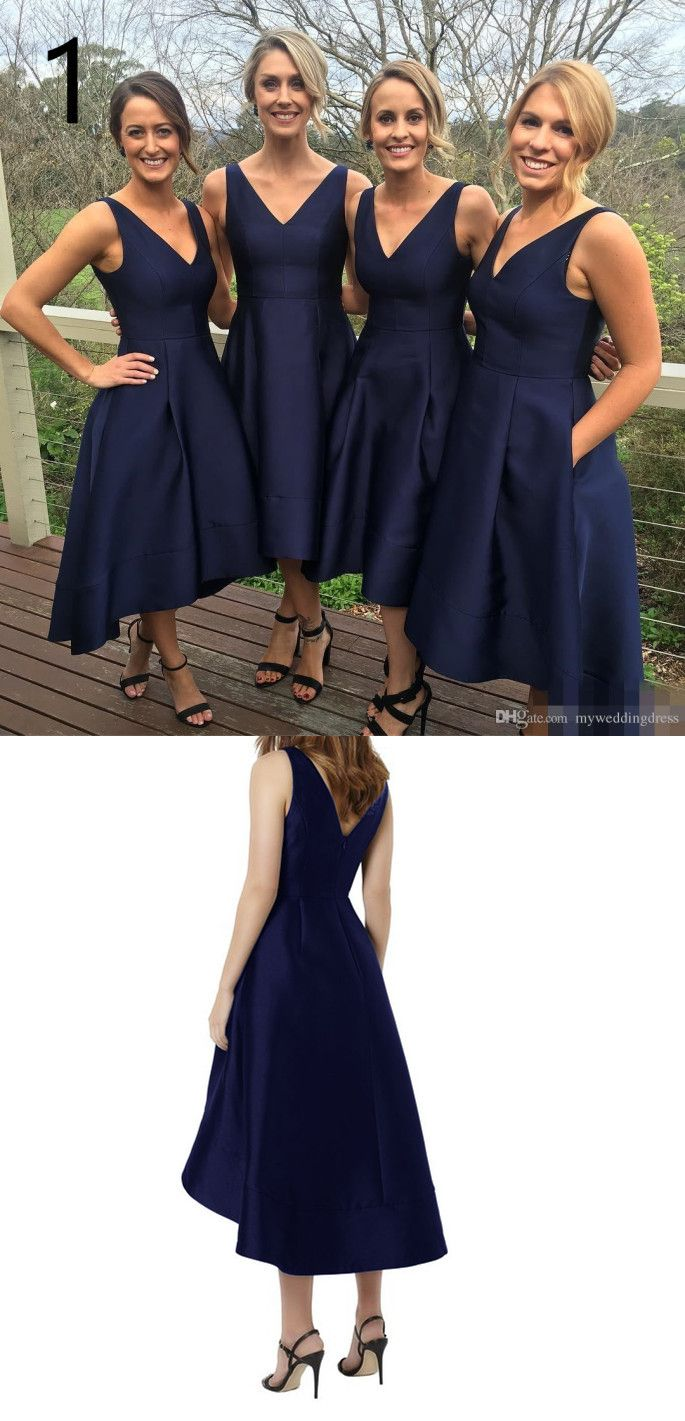 2018 bridesmaid dress, navy blue bridesmaid dress, high low long prom dresses, v neck navy blue bridesmaid dress with train