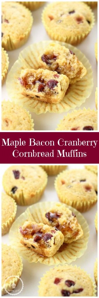 Maple Bacon Cranberry Cornbread Muffins! Maple syrup, fried crispy bacon, and sweetened dried cranberries make this ultra-moist cornbread extra special!