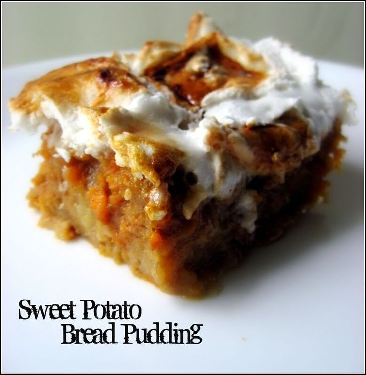 Sweet Potato Bread Pudding with Toasted Marshmallows ~ warm, brown ...