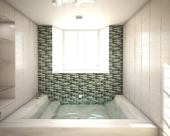 Sunken Bathtub Shower Combo
