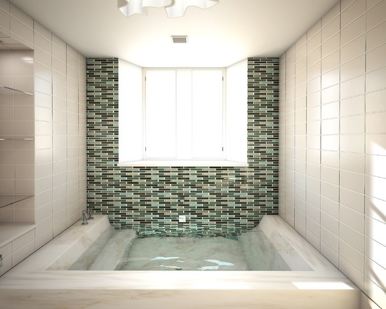 Open sunken shower stall with integrated step down tub - Open shower bathroom design ideas ...