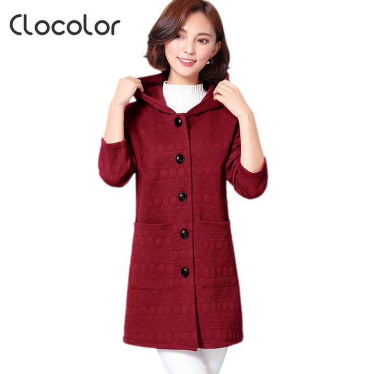 Clocolor Winter Trench Coat for Women Plus Size Casual Women overcoat Hooded Autumn Full Sleeve Female Trench Coat Outwear 4XL