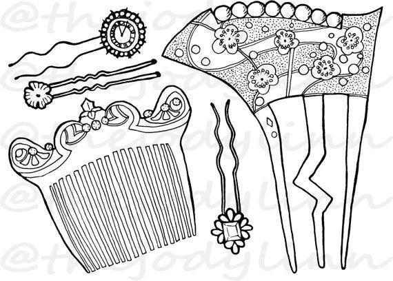Museum Drawer: Hair Combs & Pins 1. Instant Download Digital Stamp Bundle. Line Art Illustration for Cards and Crafts