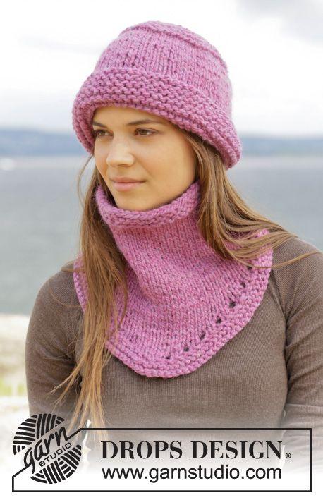 Eliana / DROPS 156-40 - Cappello e scaldacollo DROPS lavorati ai ferri a maglia legaccio e maglia rasata in Andes.