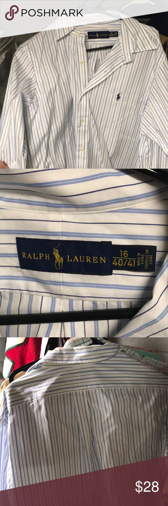 Polo Dress Shirt White and blue pinstripe polo dress shirt! In excellent condition! Polo by Ralph Lauren Shirts Dress Shirts