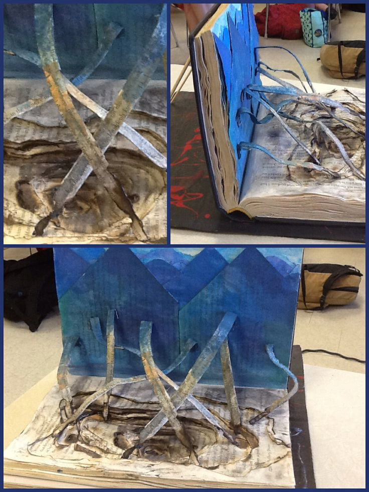 Altered book inspired by The Book Thief  by Markus Zusak to represent the choice we have to use language for destruction or using it for love.