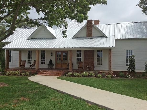 """""""Our home is a hundred-year-old farmhouse that sits on about 40 acres,"""" says Fixer Upper host, Joanna Gaines. The home features casual farmhouse style with lots of repurposed vintage pieces."""