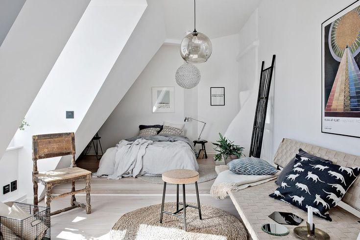 Scandinavian attic studio apartment