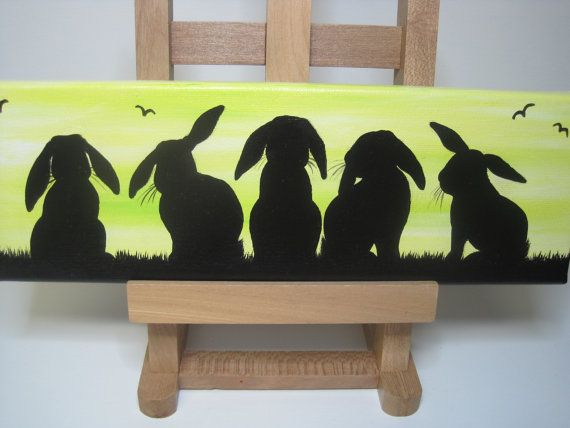 Lop eared bunny rabbit silhouette original by DandelionsGallery