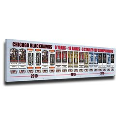 "Chicago Blackhawks 8"" x 24"" Stanley Cup Champions Tickets to a Dynasty Framed Print"