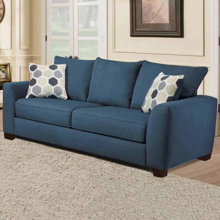 What S Happier Than A Pretty Indigo Blue Sofa In Your Living Room Albany Heritage Blue Sofa Weekends Only Furniture And Mattres Blue Sofa Sofa Living Room