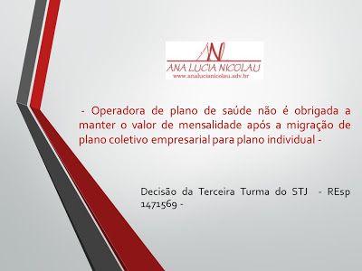 Ana Lucia Nicolau - Advogada: Cobrança de mensalidade de plano de saúde - Decisão do STJ -