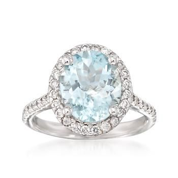 Ross-Simons - 3.20 Carat Aquamarine and .55 ct. t.w. Diamond Ring in 14kt White Gold - #840183