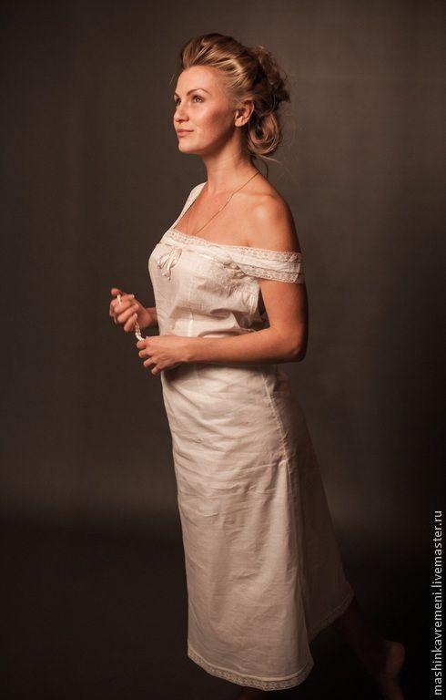 Купить Нижняя рубашка женская - белый, однотонный, белье, сорочка, ночнушка, ночная рубашка