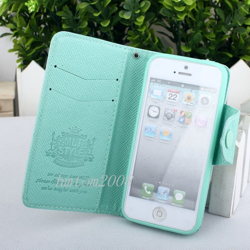 Mint Green Fashion Luxury Wallet Flip Credit ID Card Case Cover for iPhone 5 5g | eBay