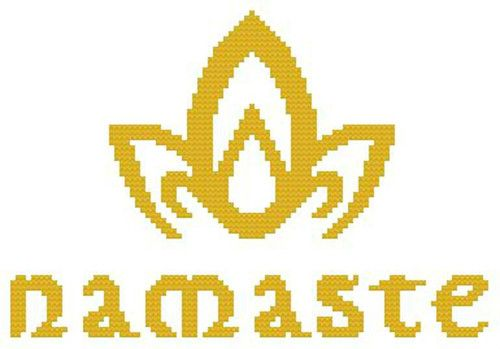 Cross Stitch Pattern Color Namaste Indian Greeting Lotus Flower Yoga Meditation | eBay @Amanda Wilson