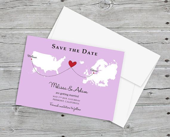 Wedding Save the Date Invitation with Maps for by PaperBoundLove