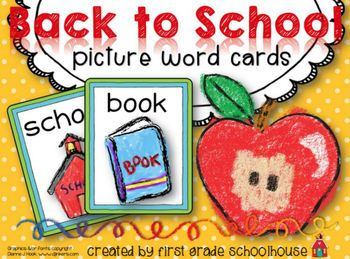 Back to School Picture Word Cards. $ Word wall words, small group, and individual student lists of back to school themed words. Great for writing activities!