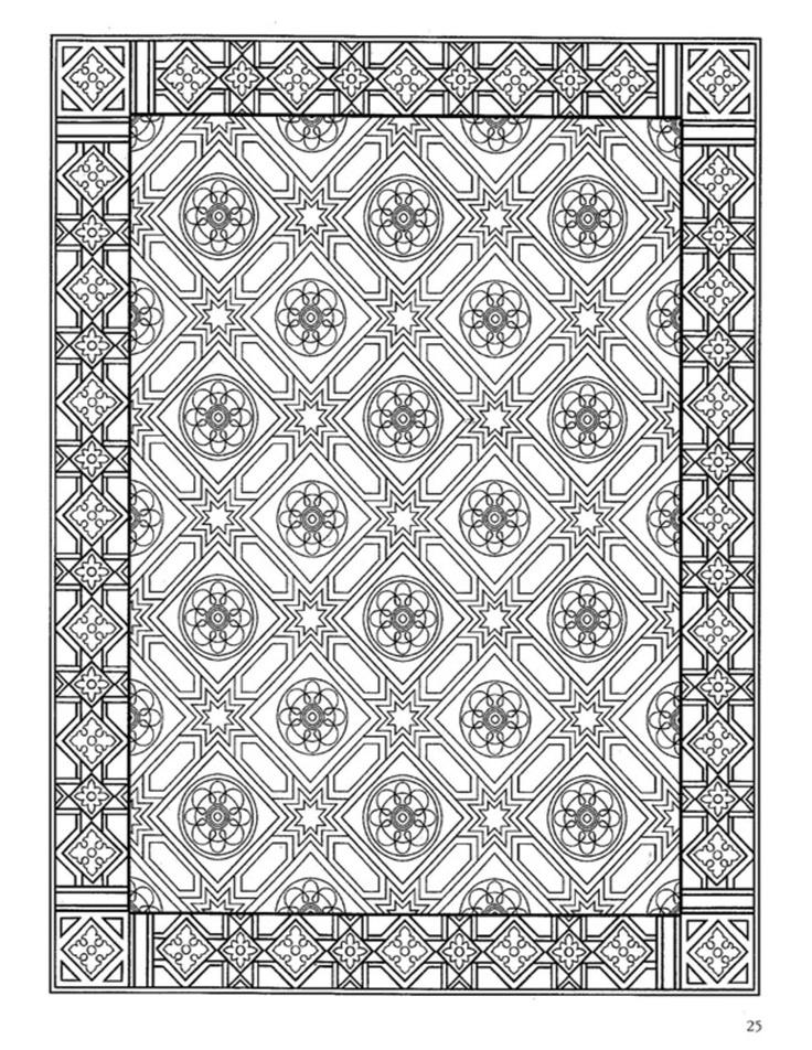 Dover Decorative Tile Coloring Book Coloriages Mandalas