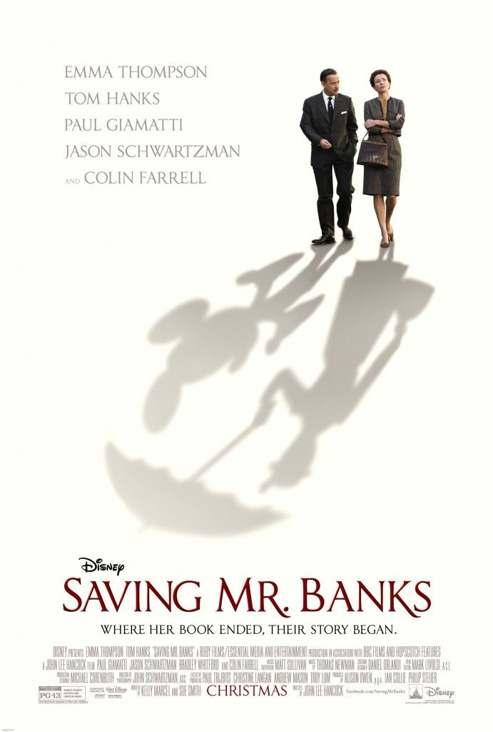 New poster for Saving Mr. Banks.  Comes out in theaters for Christmas 2013, the true story of how Mary Poppins made it to the big screen. Tom Hanks plays Walt Disney! #disneymovies #disney #savingmrbanks
