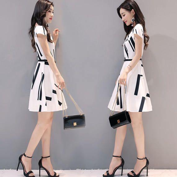 작은 시폰 드레스 여성 여름 2017 새로운 새로운 기질 숙녀 슬림 얇은 짧은 소매 패션 신선한