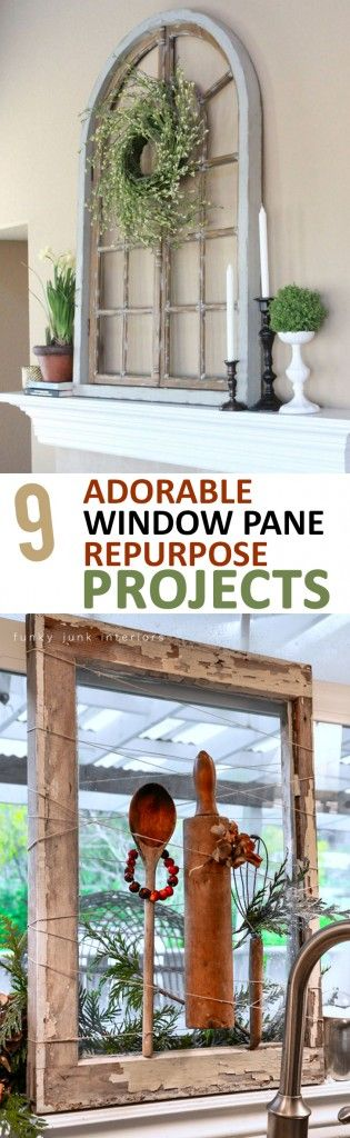 We love these re-purposed window pane ideas by Sunlit Spaces!