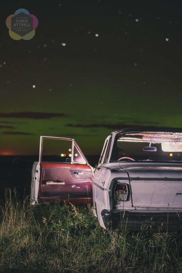 Chevy Nova in a field in Saskatchewan. Was bought in Pontiex, SK
