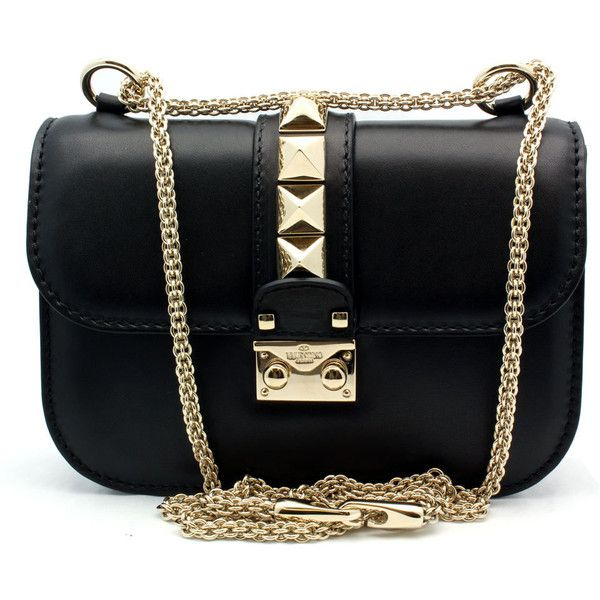 "Valentino ""DWB00312"" Black Leather Petite Shoulder Bag (24.223.530 IDR) ❤ liked on Polyvore featuring bags, handbags, shoulder bags, bolsas, purses, accessories, man shoulder bag, leather handbags, man bag and studded shoulder bag"