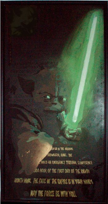 Yoda, on canvas by Marie Prokopek