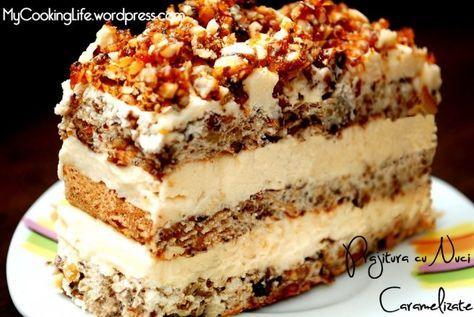 Desert prajitura cu nuci caramelizate