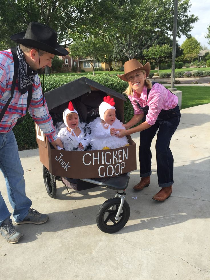 Twins chicken costumes in stroller chicken coop with farmer parents Halloween 2015