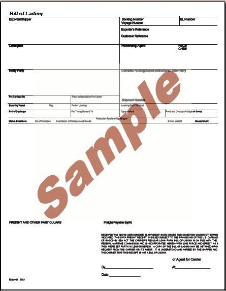 Printable Sample Bill Of Lading Pdf Form