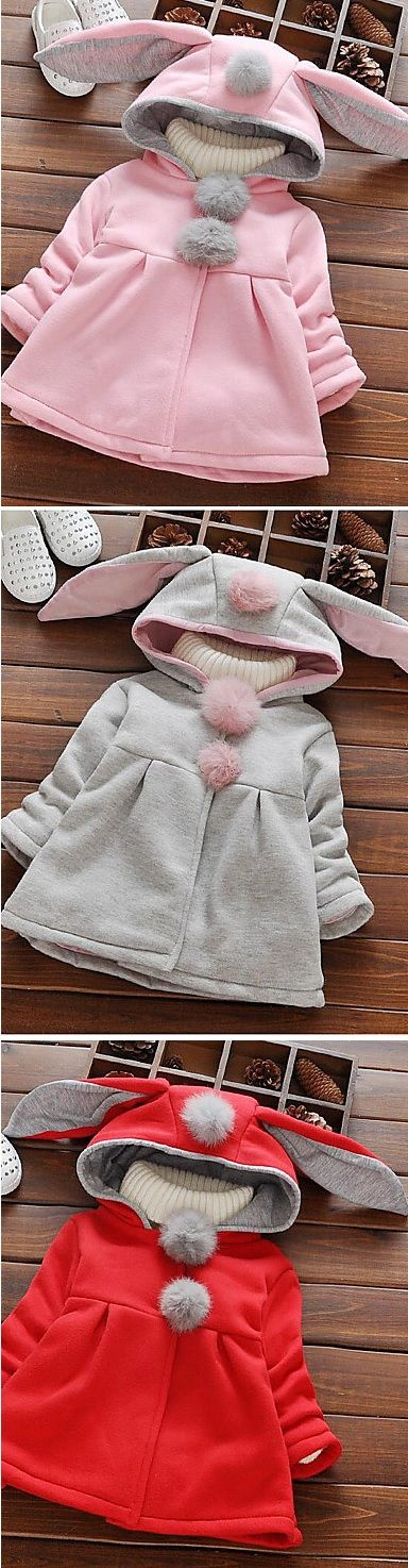 Bunny / rabbit shaped  baby spring/ autumn coat. Which color do you like most: pink, grey, red colors at $13.99. Enjoy up to 80% OFF on goods in all categories.