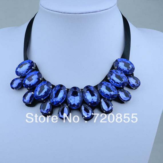 New Arrival Charming Blue Acrylic Collar Necklace Choker for Womens,Fashion Handmade Jewelry,Length: Can adjustment