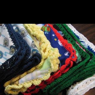 Crocheted edges on fleece blankets