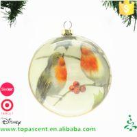 2016 kerst decoation en craft enkele glas vogel platte bal ornament van CN fabriek