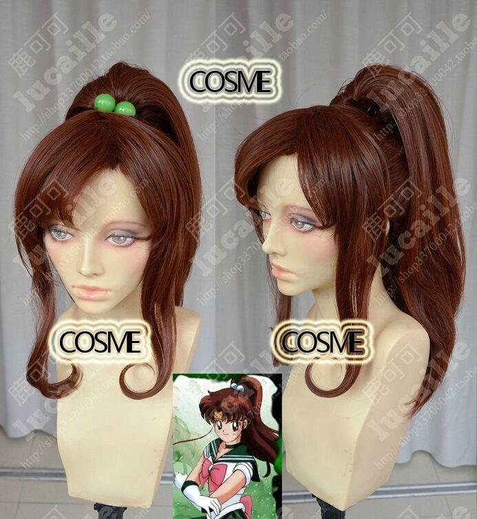 Сейлор мун сейлор юпитер высокое качество красивая мода стиль хэллоуин парик ну вечеринку волос кино макото косплей аниме парики