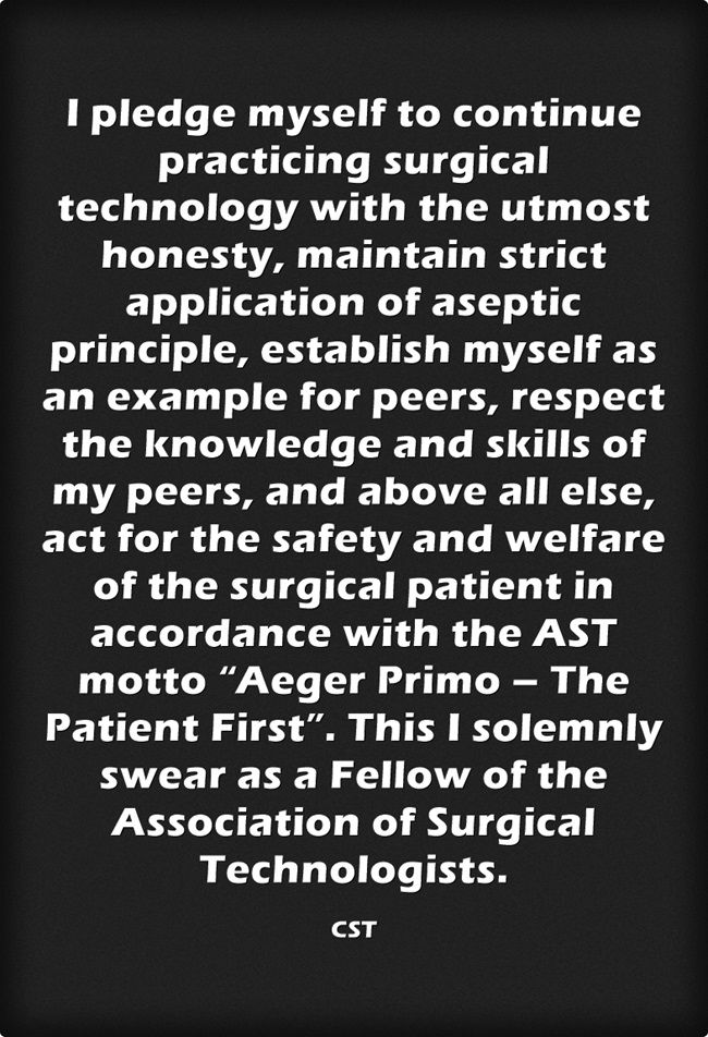 Surgical Technologist Oath Surgical Technologist Pledge Oath