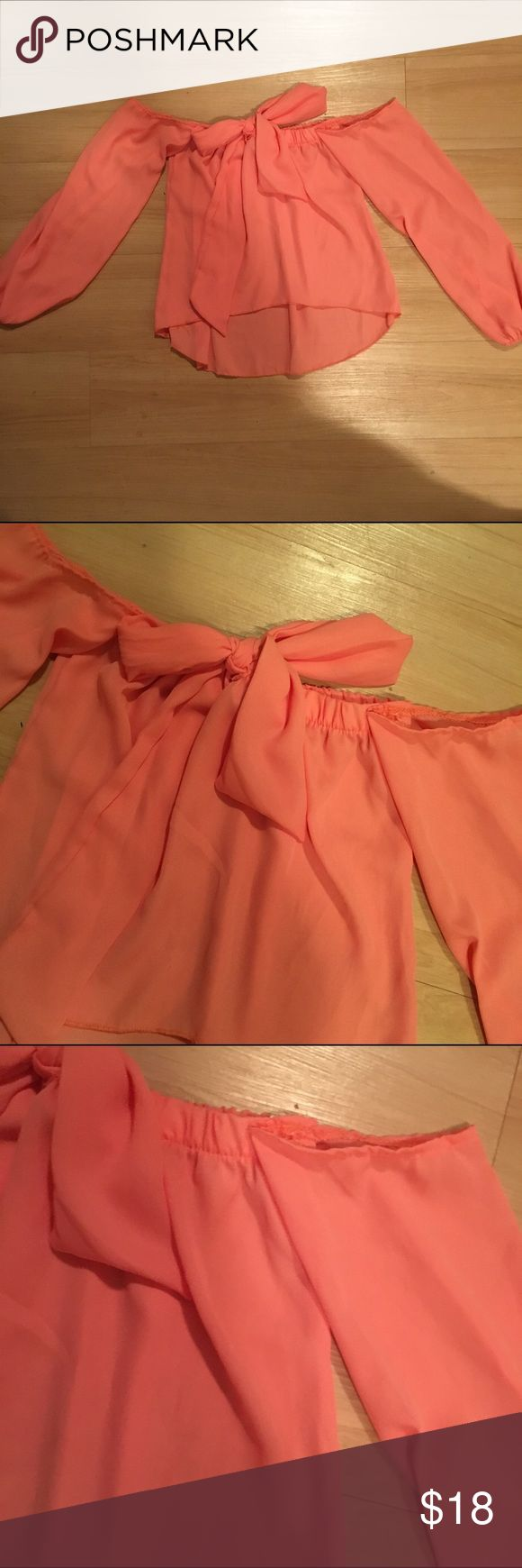 Pink Off Shoulder Bow Top Size small! Tops Blouses