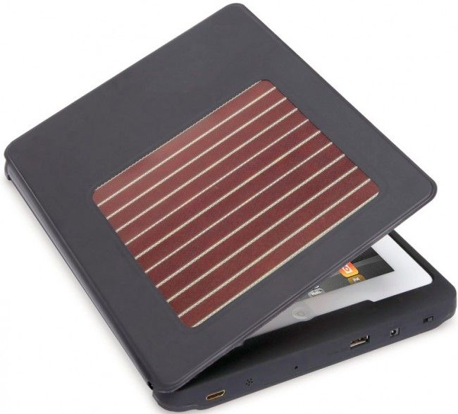 Solar Charging iPad Case - Charge your iPad on the go by harnessing the (free!) power of the sun with the Solar Charging iPad Case. The case also has a built in battery which will allow you to use your iPad2 for up to 10 days of use. The solar panel uses photovoltaic ink which can convert both indoor and outdoor light into electricity.The case also protects your device while traveling yet still allows access to it's ports.