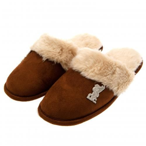 Ladies Liverpool FC mules slippers in size 3/4 with a soft lining, brown in colour and featuring a metal club crest badge. FREE DELIVERY on all of our gifts