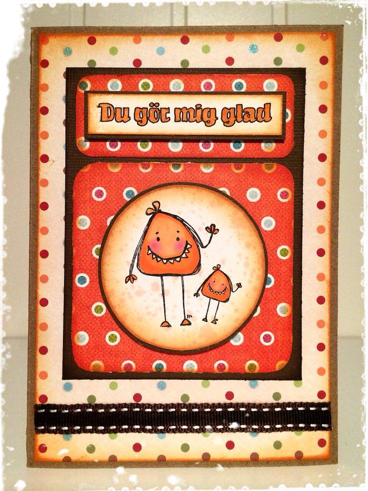 Happy card made by DT-Linda S http://blog.pysseldags.com/2014/11/du-gor-mig-monsterglad.html