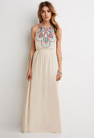 Embroidered Halter Maxi Dress | Forever 21 | #thelatest