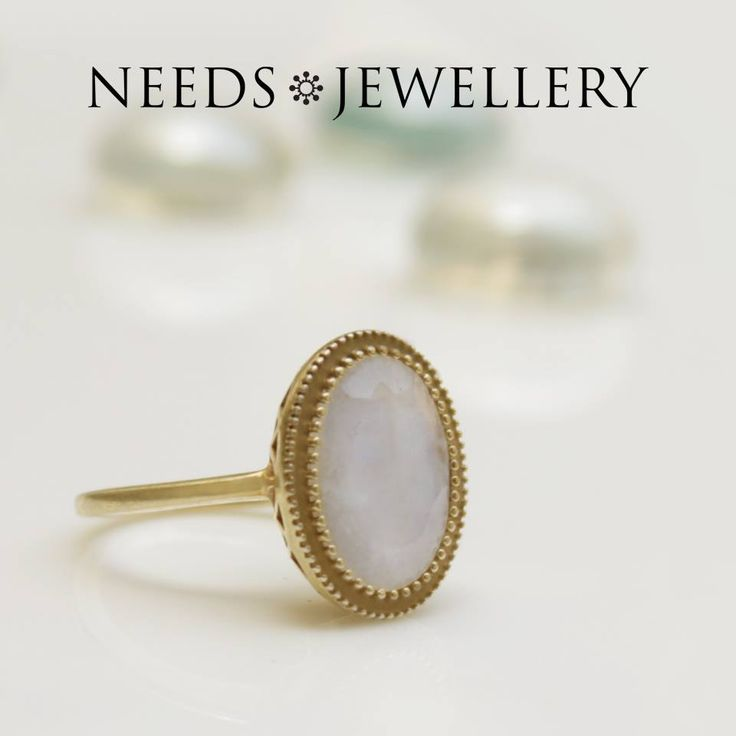 NOBLE ring with real white moonstone. A wonderfully beautiful stone with so much depth and fine handleaf stone. #rings #necklace #earrings #stone #goldplated #silver #Sterling #handmade #jewelry #NEEDSJEWELLERY