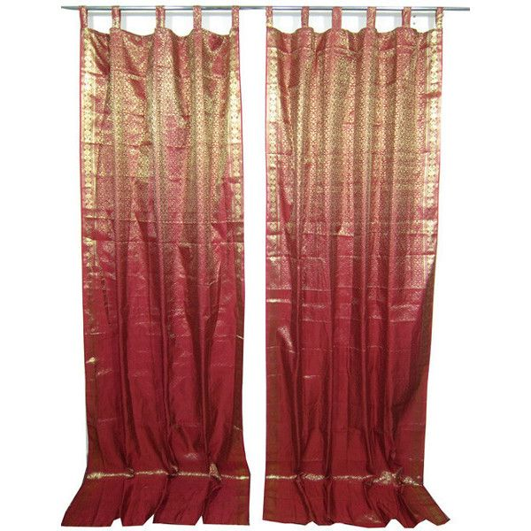 red and gold shower curtain. Mogulinterior 2 Red Maroon Gold Brocade Indian Silk Sari Curtains  liked on Best 25 curtains ideas Pinterest Victorian