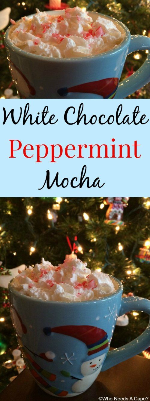 White Chocolate Peppermint Mocha | Who Needs A Cape? Make this {copycat} version of a coffeehouse favorite at home for a fraction of the cost! Perfect with freshly baked cookies!