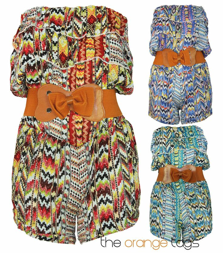 WOMENS LADIES PLAYSUIT JUMPSUIT SHORTS BANDEAU BELTED SUMMER TOP ALL IN ONE in Clothes, Shoes & Accessories, Women's Clothing, Jumpsuits & Playsuits   eBay