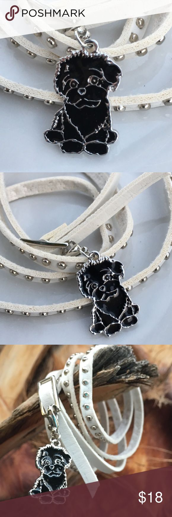 "Dog charm 🐶 BLACK BICHON poodle, cocker,, Benji Puppy dog enamel clip 🐶 on leather bracelet/ choker or  silver colored chain. Choose 20"" chain🐾 OR 🐾 White, brown or Black strap leather with silver colored metal accents and buckle. Leather bracelet/choker is  approx 36"". 🐾IF you only want the clip charm, choose CHARM ONLY and bid $10. 🐾Fun addition for a goth/ punk  look or just to wear with jeans. Cute little fluffy dog could be a poodle, cocker, bichon, Benji or any dog you might…"